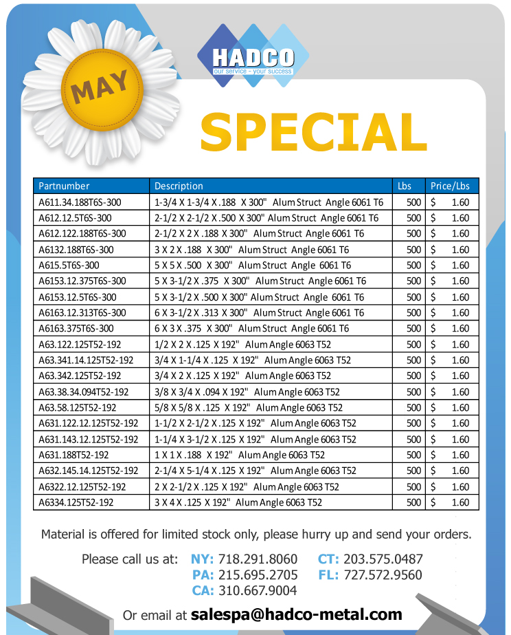Hadco Metal - May Special